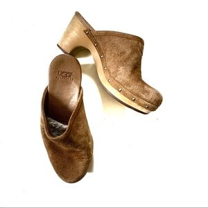 Ugg Abbie Suede Wooden Brown Mule Clog with heel